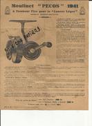 """Publicité Papier- Moulinet """" Pecos """" 1941 - Peche - Lancer - Cuillers Et Devons """" Pecos """" - Réf 08 - - Publicités"""