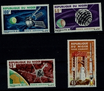 NIGER 1966 SPACE SATELLITE FRANCE  MI No 124-7 MNH VF!!