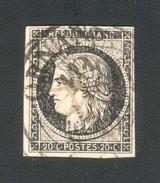 N° 3 Cérès 20c Noir - Oblitération Type 13 Du 10 Janvier 1849, Et Croix à L'encre - Signé