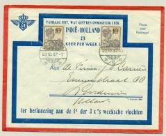 Nederlands Indië - 1937 - 2x 10 Cent Opdruk Op 32,5 Cent Wilhelmina, Speciale Vlucht Van Palembang Naar Loosduinen / NL