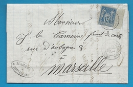 Basses ALpes - Castellanne Pour Un Fabricant De Cartes à Marseille. CàD Type 18 Sur Sage. 1880 - Marcophilie (Lettres)