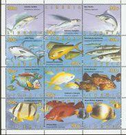 Liberia 1996 Mi# 1670-1681 Zd-Bogen ** MNH - Se-tenant Sheet Of 12 - Fishes