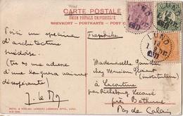 SUEDE - LUND - AFFRANCHISSEMENT TRICOLORE DU 1-9-1911 - CARTE POSTALE POUR LA FRANCE - SUPERBE.