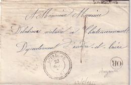 INDRE ET LOIRE - AUTRECHE - T22 DU 23 MAI 1855 - TAXE 1 - OR ORIGINE RURALE DE AUZOUER. - Marcophilie (Lettres)