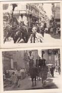 CARRO FUNEBRE TRAINATO DA CAVALLI CON PENNACCHIO - NAPOLI ANNI 40-50 - LOTTO DI DUE FOTO - Mestieri