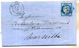 LETTRE De 1873 PLIEE OBLITEREE Avec CERES 25c BLEU      (U183) - Manuscrits