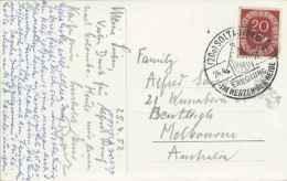 20pf Posthorn 1952 (20a) Soltau (Han) Erholung Im Herzen Der Heide Illustrated Slogan PPC To Melbourne, Australia.