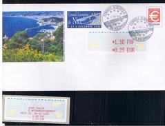 PAP, 0.46 €, NICE,SOMMET DU CONSEIL EUROPEEN, Avec VIGNETTE, 0.23€ + RECU, Lisa1 Et Oblitération, 8/12/2000, - 2000 «Avions En Papier»