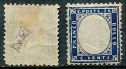 Italie 1862, N° 3, 20c Bleu, Cachet Bizarre Au Dos