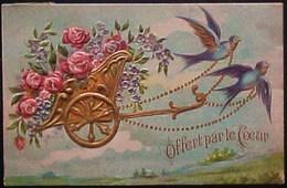 Cpa  Gaufrée CHAR De ROSES , Attelage 2 HIRONDELLES , OFFERT Par Le COEUR 1908 CART OF FLOWERS SWALLOW - Fleurs