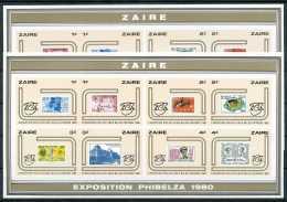 """LX1050/65 - ND/Imperf - Exposition Philatélique Belgo-zairoise """"""""Phibelza"""""""" - Les 2 Feuillets De Luxe"""