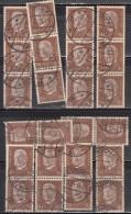 50pf Pairs & Strips, (Qty 24) Shades / Paper Varities,  'Deutsches Reich' Used 1928  Hindenburg Deutschland Germany