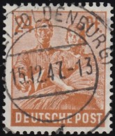 GERMANY - Scott #565 (1) Reaping Wheat 'Postmark, Oldenburg' / Used Stamp - Amerikaanse, Britse-en Russische Zone