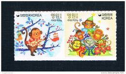KR1587 Korea 2015 Chinese Lunar New Year 2016 Year Of The Monkey Stamp Sticker 2 New Bingshen - Korea (Süd-)