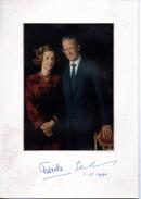 Baudoin & Fabiola, 1990, Photo Encadrée, Signée, Datée,cadre Officiel De La Cour De Belgique