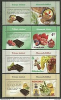 Romania 2016 / Bible Foods - Bread, Figs, Grape, Wine, Pomegranate, Olives / Set 4 Stamps With Labels