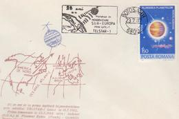 STAMPS SPACE- COVERS-ROMANIA- TELSTAR -1  25 YEARS FROM TRANSMISIE SUA-EUROPA -1987