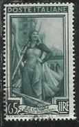 ITALIA REPUBBLICA ITALY REPUBLIC 1950 1951 AL LAVORO LABOUR  LIRE 65 RUOTA III WHEEL WATERMARK USATO USED OBLITERE´
