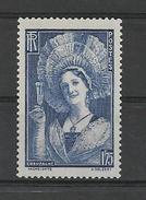 FRANCE 1938 / Champenoise Coiffée Du TOQUAT / YT 388 NEUF** - France