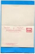 MARCOPHILIE-COLOMBIE-carte -Tarjeta Postal  -entier Postal - Avec Respuesta-neuf ** Impec 2 Cent 1888