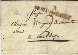 1820- Lettre De 3 / MONT - MARAUD ( Allier ) 52 X 11 Mm  Noir Pour Montluçon - 1801-1848: Precursori XIX