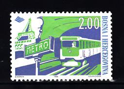 Trein, Train, Locomotive, Eisenbahn: Bosnia -Herzegovina 1998 Mi Nr 145 Metro Parijs