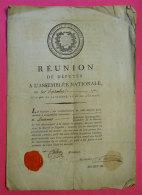 21 Sept 1792 Réunion Assemblée Nationale Réunion Députés Signé Etienne Calon Conventionnel Vignette Cachet SieurLaurens - Documents Historiques