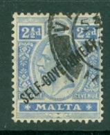 Malta: 1922   KGV 'Self Government' OVPT     SG118   2½d     Used - Malta (...-1964)