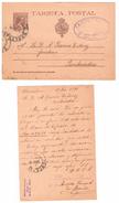 España Tarjeta Entero Postal Alfonso XIII Pelon 10 Cts. Edifil Nº 36. Variedad