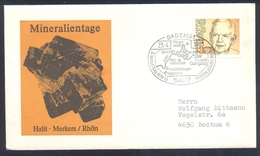Germany 1983 Minerals; Mineraux Bergbau Mines HALIT Fossil Fosil Mineralogy Fossilien; Map Of Mines Badems