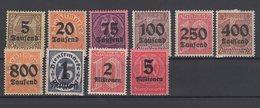 Deutsches Reich / Dienstmarken Teilauflagen Der Freimarken Mit Schwarzem Aufdruck / MiNr. 89-98