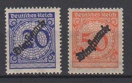 Deutsches Reich / Dienstmarken Freimarken MiNr. 341, 342 Mit Schwarzem, Schlangenförmigem Aufdruck / MiNr. 102, 103