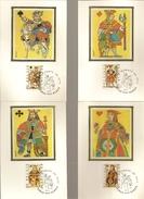 BELG.1973 1695-1698 ( 4 Cards) MK-MC Silk,zijde,soie  (album 11)