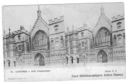 LONDON  VUES STEREOSCOPIQUES  JULIEN DAMOY    LONDRES  HALL WESTMINSTER    *****   RARE    A  SAISIR  **** - Stereoscope Cards
