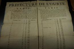 1794 Préfecture De L'Ourte Tarif Du Prix Auquel Doivent être Payés...les Ecus ...rognés Ou Altérés... (10) - Affiches