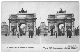 VUES STEREOSCOPIQUES  JULIEN DAMOY  PARIS  Arc De Triomphe Du Carrousel   ***      A  SAISIR  **** - Stereoscopische Kaarten