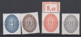 Deutsches Reich / Dienstmarken Freimarken: Wertziffern Im Oval (Strohhutmuster) / MiNr. 117, 119, 127,129