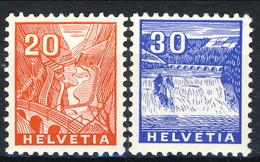 Svizzera 1934 N. 275 C. 20 Arancio E N. 247 C. 30 Azzurro (Reno, Cascata) MNH Cat € 113 - Nuovi