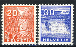 Svizzera 1934 N. 275 C. 20 Arancio E N. 247 C. 30 Azzurro (Reno, Cascata) MNH Cat € 113 - Svizzera