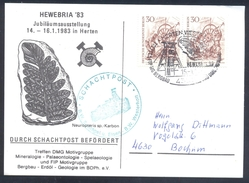 Germany 1983 SHAFT / SCHACHT POST Card Minerals; Mineraux Bergbau Mines Fossil Fosil Mineralogy Fossilien RARE