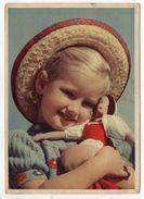 Fillette Au Chapeau Et Son Jouet  (poupée) Cpsm 15 X 10 N° 1236 éd Carl Werner - Jeux Et Jouets