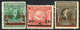 Belgio 1921 Serie N. 184-186 Olimpiadi Di Anversa Sovrastampati Con Nuovo Valore MH Cat. € 7 - Belgio