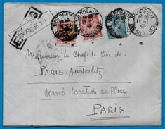 Lettre EXPRES 33 BORDEAUX-Les-SALINIERES - Iris YT 650 & 652 + Blason Flandre YT 602 - Janvier 1945