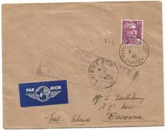 GANDON 15FR LILAS SEUL LETTRE AVION PARIS 6.2.1946 POUR IRLANDE AU TARIF