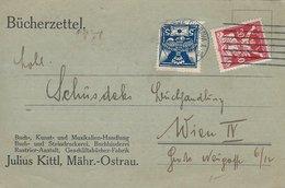 Bückerzettel. Sent From Ostrava To Vien. 1921.   H-935 - Czechoslovakia