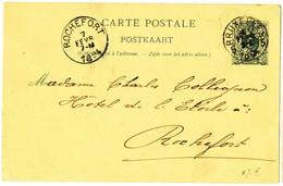 1894 CARTE POSTALE TYPE OBP45 VAN BRUXELLES5 NAAR ROCHEFORT AANKOMSTSTEMPEL - Entiers Postaux