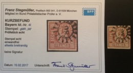 Bayern (Altdeutschland) 1849 6 Kr Gute  Type I Gestempelt 98, Mi. 4 I. Kurz-Befund Stegmüller BPP (Baviére Bavaria