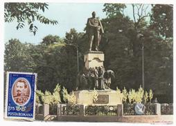 MAXI CARD ROMANIA SCLUPTURE  ROMANIA -PRINCE ALEXANDRU IOAN CUZA -STAUE AT GALATI