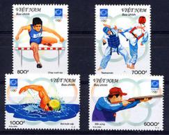 VIETNAM VIET-NAM 2004, J.O. ATHENES, HAIES, NATATION, TIR CARABINE, TAEKWONDO, 4 Valeurs, Neufs / Mint. R282