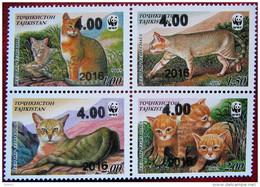 Tajikistan  2016   Fauna  WWF  Overprint   New Value On Stamps 4 V  MNH